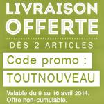 Promotion : La livraison gratuite dès 2 articles commandés