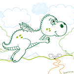L'activité du mercredi : coloriage d'un gentil dragon