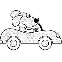 L'activité du mercredi : le petit chien pilote en gommettes