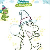 L'activité du mercredi : Le coloriage d'un dinosaure magicien