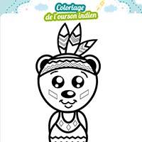 L'activité du mercredi : ourson indien à colorier