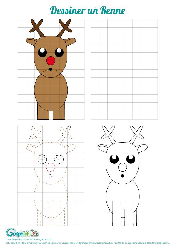 L 39 activit du mercredi dessiner un renne graphick kids - Dessiner un renne ...
