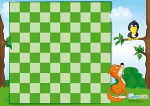 plateau jeu de dames corbeau et renard