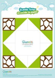 cocotte en papier tortue à colorier