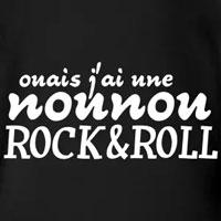 tee shirt enfant bébé j'ai une nounou rock'n'roll qui déchire