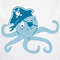 tee shirt enfant bébé pieuvre pirate