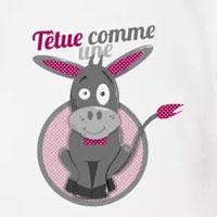 tee shirt enfant bébé têtue comme une mule rose