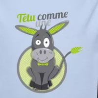 tee shirt enfant bébé têtu comme une mule vert