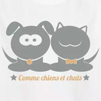 tee shirt enfant comme chien et chat frère soeur