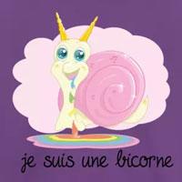 tee shirt enfant bébé licorne escargot bicorne