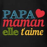 tee shirt enfant bébé papa maman elle t'aime