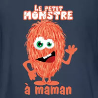 tee shirt petit monstre à maman rouge rose