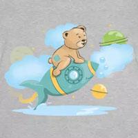tee shirt bébé enfant ours fusée dans l'espace