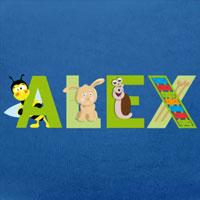 tee shirt enfant bébé Alex prénom illustré
