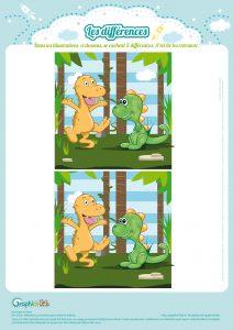 Jeu des différences des dinosaures