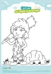 coloriage enfant préhistorique homme des cavernes cro magnon