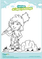 L'activité du mercredi : le coloriage de l'enfant préhistorique