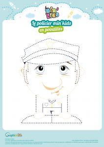 policier à dessiner min'kids