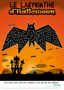 labyrinthe Halloween chauve souris