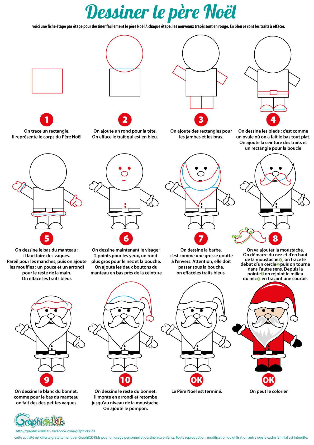 L Activite Du Mercredi Dessiner Le Pere Noel En 10 Etapes Graphick Kids