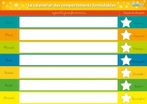 calendrier des comportements formidables