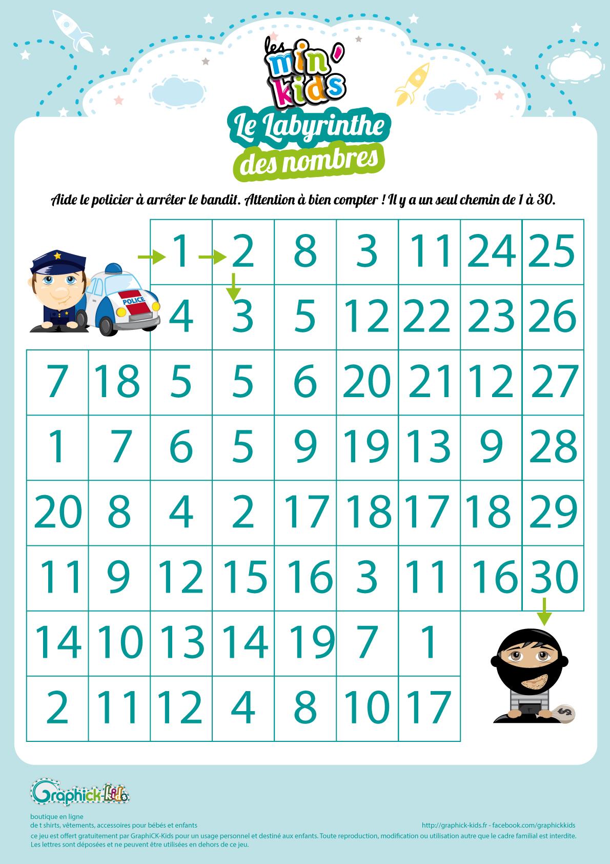 L'activité du mercredi : Le labyrinthe des nombres policier bandit